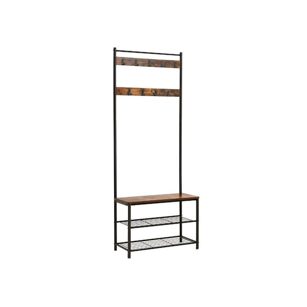Metal and Wood Coat Rack with Nine Hooks and Storage Shelves, Brown and Black