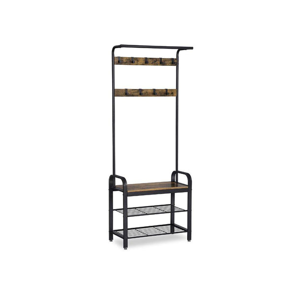Metal and Wood Framed Coat Rack with Multiple Hooks and Storage Shelves, Brown and Black