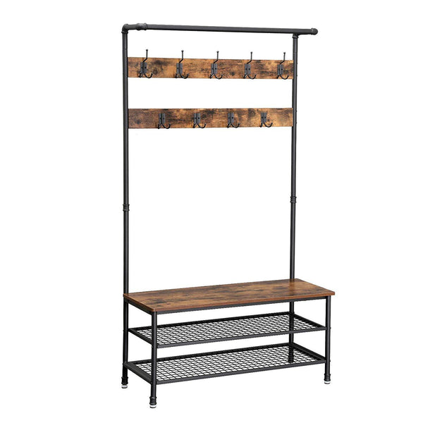 Metal Coat Rack with Wooden Bench and Two Wire Meshed Shelves, Brown and Black