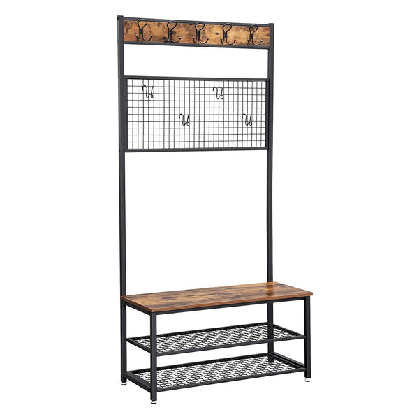 Metal Coat Rack with Wooden Bench, Two Mesh Shelves and Grid Panel, Brown and Black