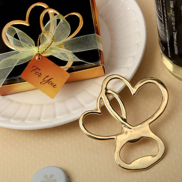 Metal double heart bottle opener with gold finish-Personalized Coasters-JadeMoghul Inc.