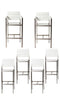 Metal Framed Barstools with Plank Style Plywood Seating, Silver and White, Set of 6-Patio Furniture-Silver and White-Aluminum and Plywood-JadeMoghul Inc.