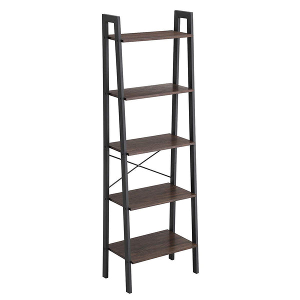 Metal Framed Ladder Style Storage Shelf with Five Wooden Shelves, Brown and Black