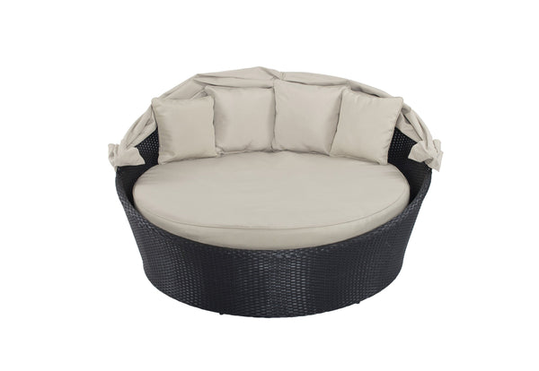 Metal Framed Rattan Sofa Bed with Adjustable Canopy and Round Cushion Mattress, Gray-Patio Furniture-Gray-Aluminum, Rattan and Fabric-JadeMoghul Inc.