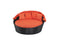 Metal Framed Rattan Sofa Bed with Adjustable Canopy and Round Cushion Mattress, Orange-Patio Furniture-Orange-Aluminum, Rattan and Fabric-JadeMoghul Inc.