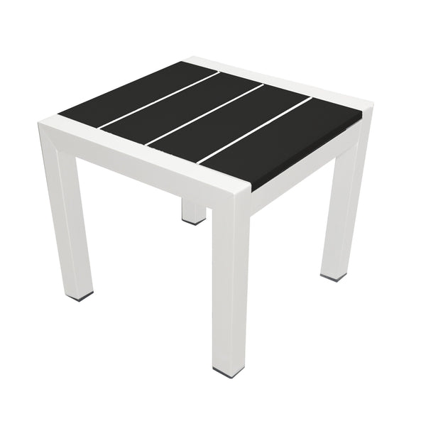 Metal Framed Side Table with Slatted Polyresin Top, White and Black-Patio Furniture-White and Black-Aluminum and Polywood-JadeMoghul Inc.