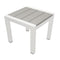 Metal Framed Side Table with Slatted Polyresin Top, White and Gray-Patio Furniture-White and Gray-Aluminum and Polywood-JadeMoghul Inc.