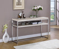 Metal Framed Sofa Table with Wooden Top and Shelf, Silver and Weathered White-Console Tables-Silver and White-Metal and Wood-JadeMoghul Inc.