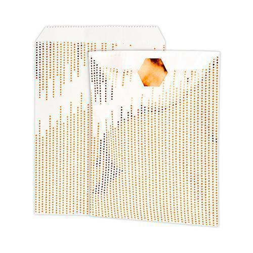 Metallic Copper Dots Paper Treat Bags with Sticker (Pack of 8)-Favor Boxes Bags & Containers-JadeMoghul Inc.