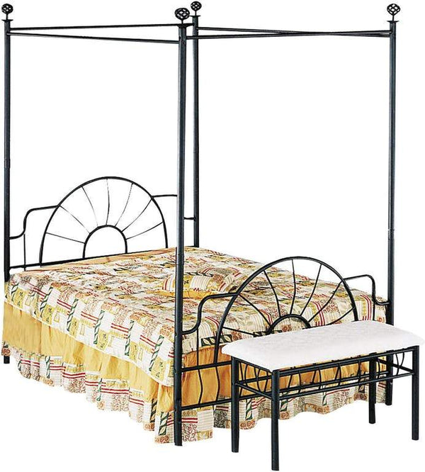 Metallic Queen Size Canopy Bed With Starburst style Headboard & Footboard, Black