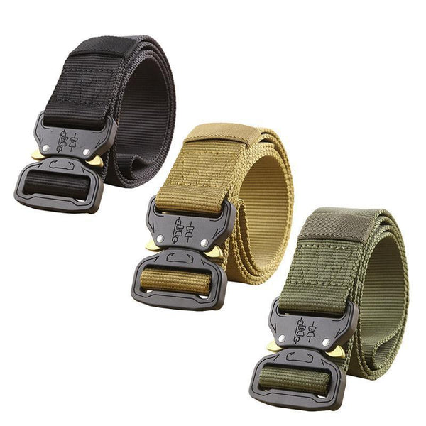 Military Equipment Army Tactical Belt Men Thicken Metal Buckle Sturdy Nylon Belt Combat Belts-Khaki-JadeMoghul Inc.