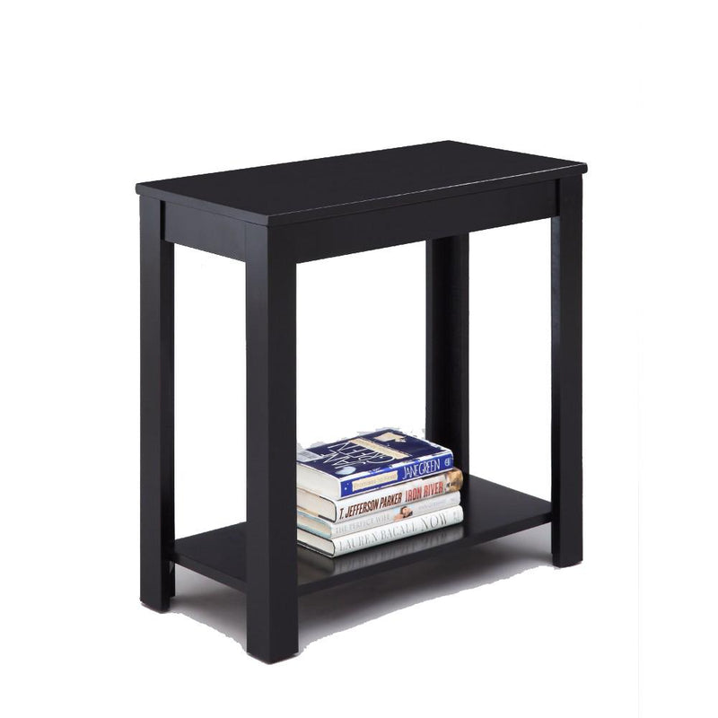Minimalistic designed Wooden Chairside Table, Black-Side Tables and End Tables-Black-Wood-JadeMoghul Inc.