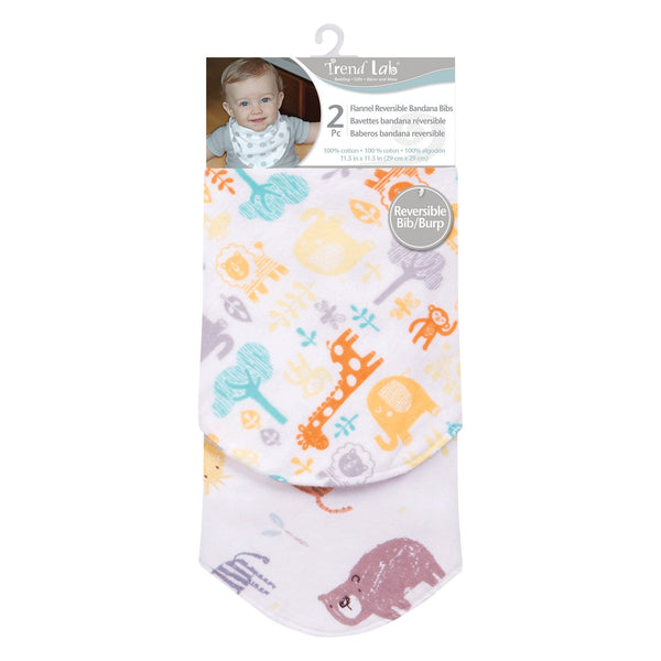 Mint Jungle 2 Pack Reversible Flannel Bandana Bib Set-WHIM-U-JadeMoghul Inc.