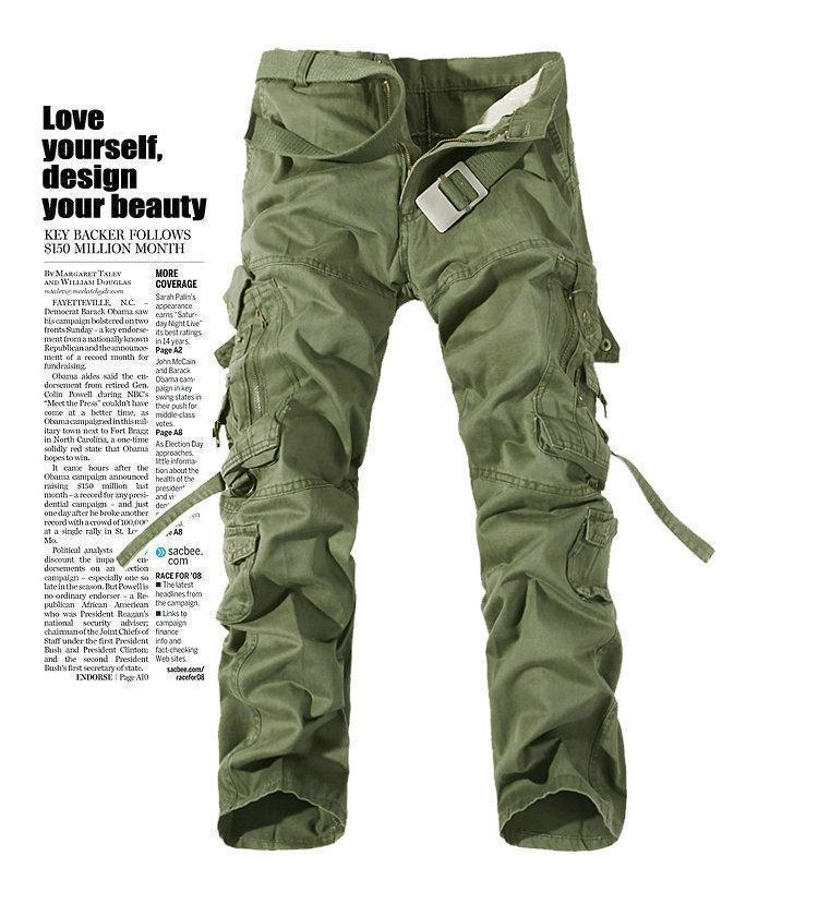 MISNIKI 2017 New Army Military Camouflage Overalls Bags Pants Overalls Big Yards Men Camo Combat Work Trousers Overalls-Grass Army Green-28-JadeMoghul Inc.