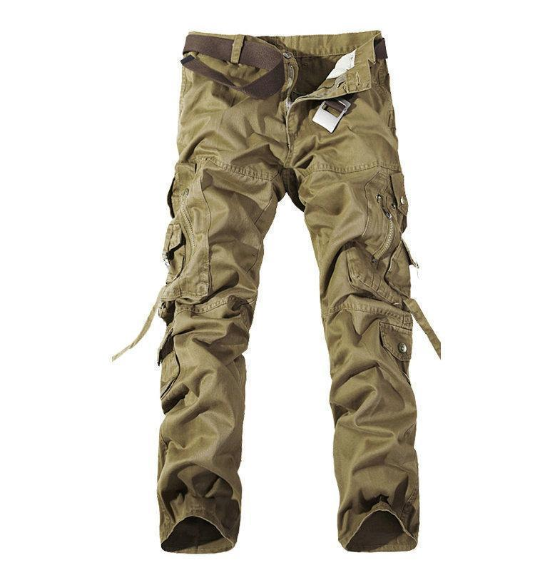 MISNIKI 2017 New Army Military Camouflage Overalls Bags Pants Overalls Big Yards Men Camo Combat Work Trousers Overalls-Khaki-28-JadeMoghul Inc.