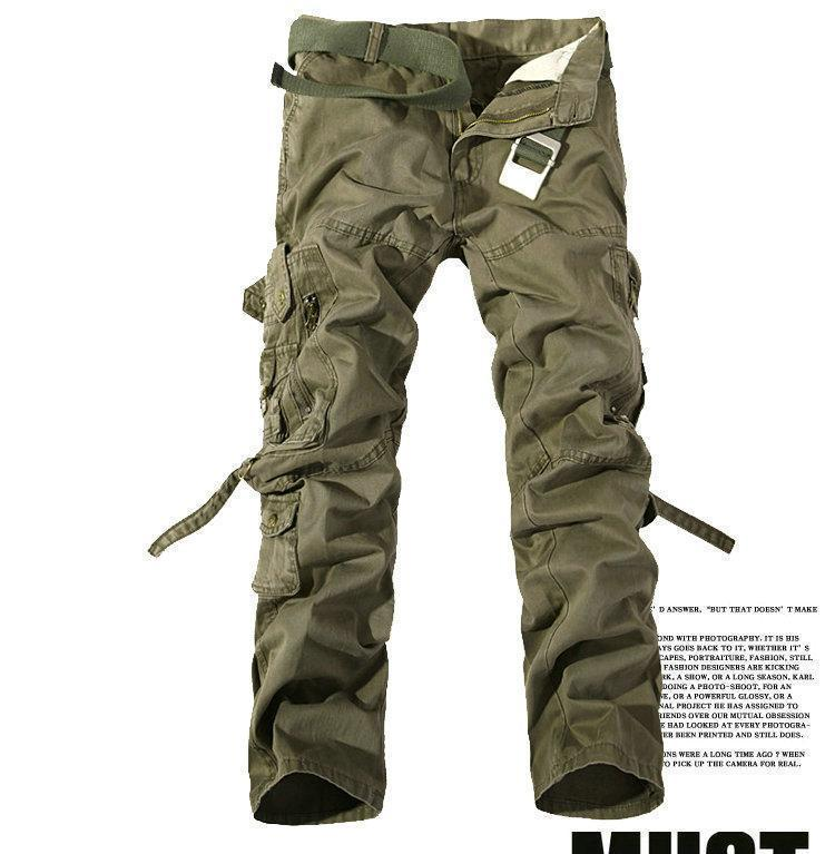 MISNIKI 2017 New Army Military Camouflage Overalls Bags Pants Overalls Big Yards Men Camo Combat Work Trousers Overalls-Soil Army Green-28-JadeMoghul Inc.