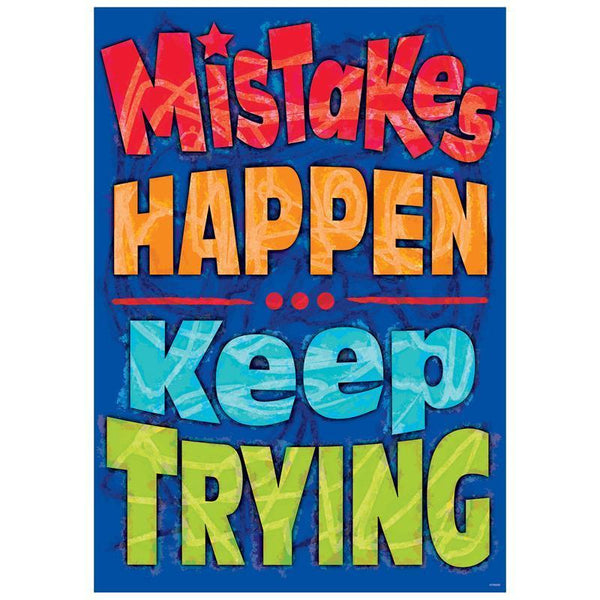 MISTAKES HAPPEN KEEP TRYING POSTER-Learning Materials-JadeMoghul Inc.