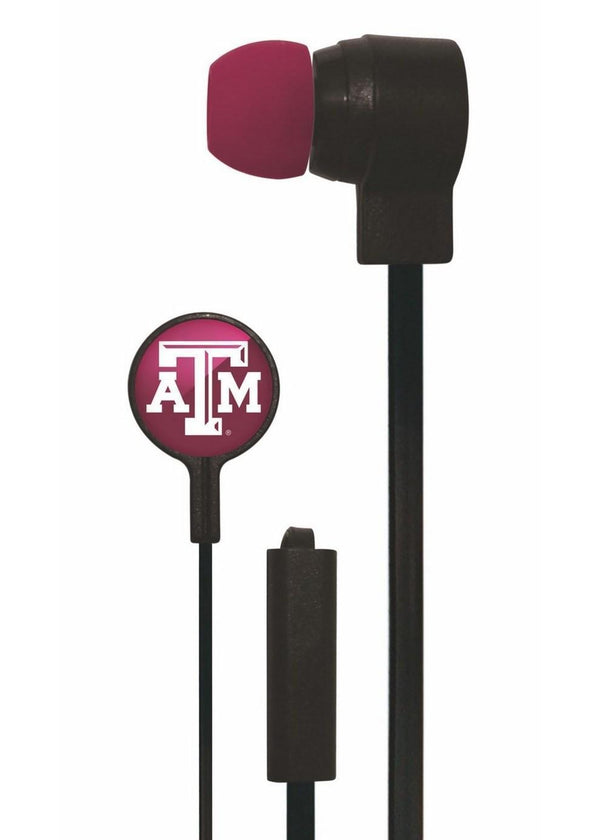 Mizco NCAA Texas A&M Aggies Big Logo black cord earbuds-All Other Sports-JadeMoghul Inc.