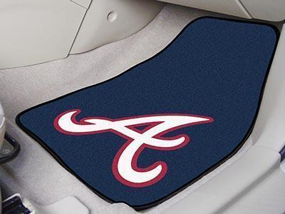 "MLB - Atlanta Braves 2-pc Carpeted Front Car Mats 17""x27""-2-pc Carpet Car Mat Set-JadeMoghul Inc."