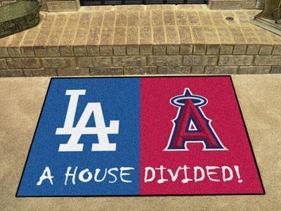 "Large Rugs MLB Dodgers Angels House Divided Rug 33.75""x42.5"""