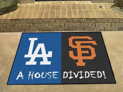 "Large Area Rugs MLB Dodgers Giants House Divided Rug 33.75""x42.5"""