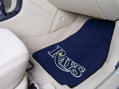 "Weather Car Mats MLB Tampa Bay Rays 2-pc Carpeted Front Car Mats 17""x27"""