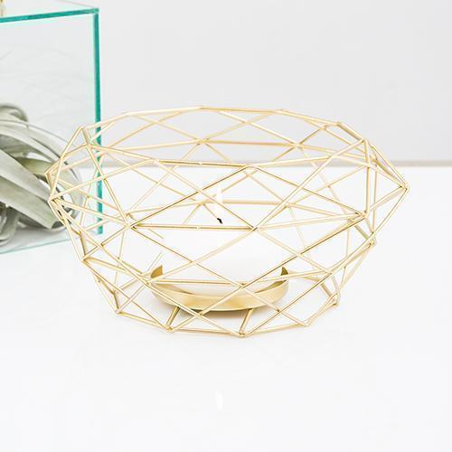 Modern Gold Geometric Metal Table Centerpiece (Pack of 1)-Table Top Décor-JadeMoghul Inc.