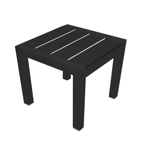 Modern Metal Framed Side Table with Slatted Polyresin Top, Black-Patio Furniture-Black-Aluminum and Polywood-JadeMoghul Inc.