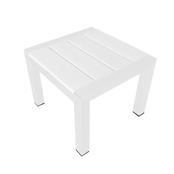 Modern Metal Framed Side Table with Slatted Polyresin Top, White-Patio Furniture-White-Aluminum and Polywood-JadeMoghul Inc.