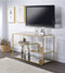 Modern Metal Framed TV Stand with Mirrored Open Compartments, Gold and Clear-Media Storage Cabinets & Racks-Gold and Clear-Metal, Mirror-JadeMoghul Inc.
