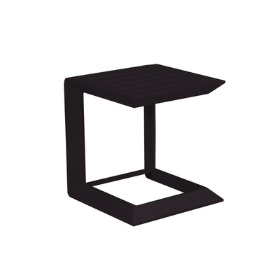 Modern Metal Side Table with Plank Style Top and Cantilever Base, Black-Patio Furniture-Black-Aluminum-JadeMoghul Inc.