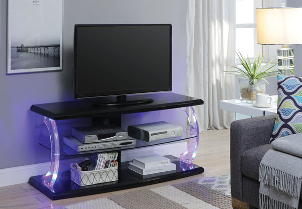 Modern Style Wooden TV Stand with Acrylic Posts and LED Lighting, Black and Clear-Media Storage Cabinets & Racks-Black and Clear-Glass, Veneer, Engineered Wood, Acrylic and LED-JadeMoghul Inc.