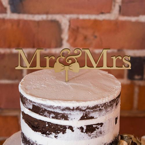 Mr & Mrs Bow Tie Acrylic Cake Topper - Metallic Gold (Pack of 1)-Wedding Cake Toppers-JadeMoghul Inc.