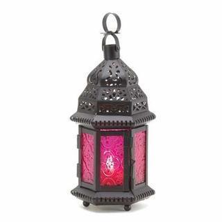 MULBERRY GLASS MOROCCAN STYLE LANTERN-Seasonal Merchandise/Gifts-JadeMoghul Inc.