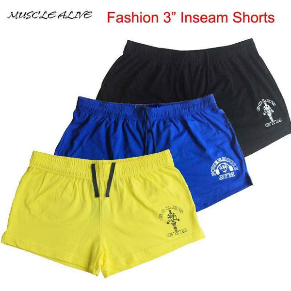 MUSCLE ALIVE Brand Clothing Bodybuilding Shorts Mens Golds Gyms Clothing Fitness Mens Shorts Muscle Casual Print Shorts Cotton-GOLD black-M-JadeMoghul Inc.