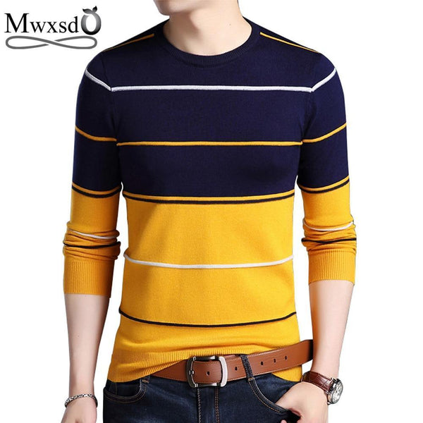 Mwxsd Casual Men's winter O-Neck Striped pullover Sweaters Slim Fit Knitting Mens cotton Sweaters High Quality male Pullovers-Khaki-M-JadeMoghul Inc.