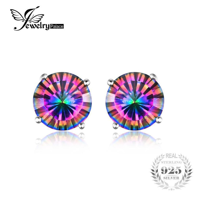 Natural Mystic Rainbow Topaz Earrings Stud For Girls Genuine Pure Solid 925 Sterling Silver Round Brand Fashion Hot Wholesale--JadeMoghul Inc.