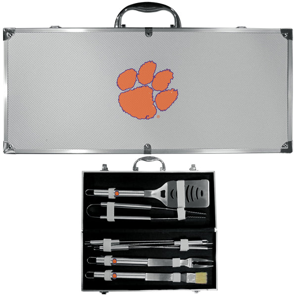 NCAA - Clemson Tigers 8 pc Stainless Steel BBQ Set w/Metal Case-Tailgating & BBQ Accessories,BBQ Tools,8 pc Steel Tool Set w/Metal Case,College 8 pc Steel Tool Set w/Metal Case-JadeMoghul Inc.