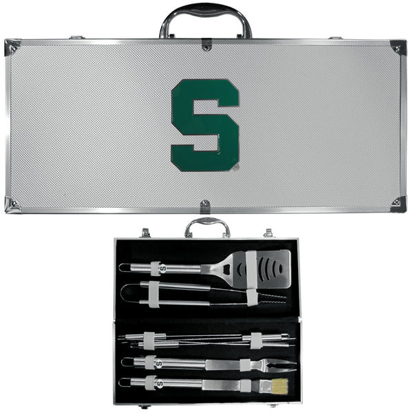 NCAA - Michigan St. Spartans 8 pc Stainless Steel BBQ Set w/Metal Case-Tailgating & BBQ Accessories,BBQ Tools,8 pc Steel Tool Set w/Metal Case,College 8 pc Steel Tool Set w/Metal Case-JadeMoghul Inc.
