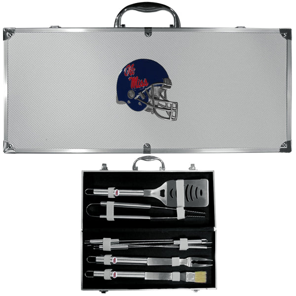 NCAA - Mississippi Rebels 8 pc Stainless Steel BBQ Set w/Metal Case-Tailgating & BBQ Accessories,BBQ Tools,8 pc Steel Tool Set w/Metal Case,College 8 pc Steel Tool Set w/Metal Case-JadeMoghul Inc.