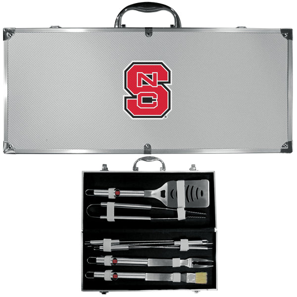 NCAA - N. Carolina St. Wolfpack 8 pc Stainless Steel BBQ Set w/Metal Case-Tailgating & BBQ Accessories,BBQ Tools,8 pc Steel Tool Set w/Metal Case,College 8 pc Steel Tool Set w/Metal Case-JadeMoghul Inc.