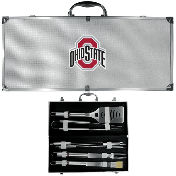 NCAA - Ohio St. Buckeyes 8 pc Stainless Steel BBQ Set w/Metal Case-Tailgating & BBQ Accessories,BBQ Tools,8 pc Steel Tool Set w/Metal Case,College 8 pc Steel Tool Set w/Metal Case-JadeMoghul Inc.