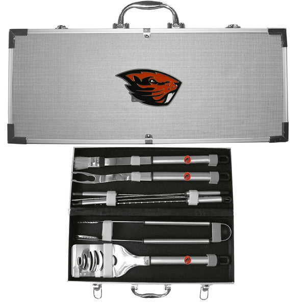 NCAA - Oregon St. Beavers 8 pc Stainless Steel BBQ Set w/Metal Case-Tailgating & BBQ Accessories,BBQ Tools,8 pc Steel Tool Set w/Metal Case,College 8 pc Steel Tool Set w/Metal Case-JadeMoghul Inc.
