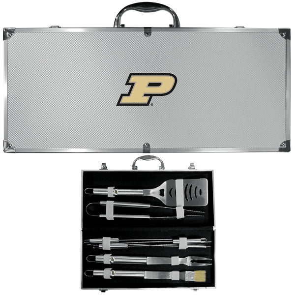 NCAA - Purdue Boilermakers 8 pc Stainless Steel BBQ Set w/Metal Case-Tailgating & BBQ Accessories,BBQ Tools,8 pc Steel Tool Set w/Metal Case,College 8 pc Steel Tool Set w/Metal Case-JadeMoghul Inc.