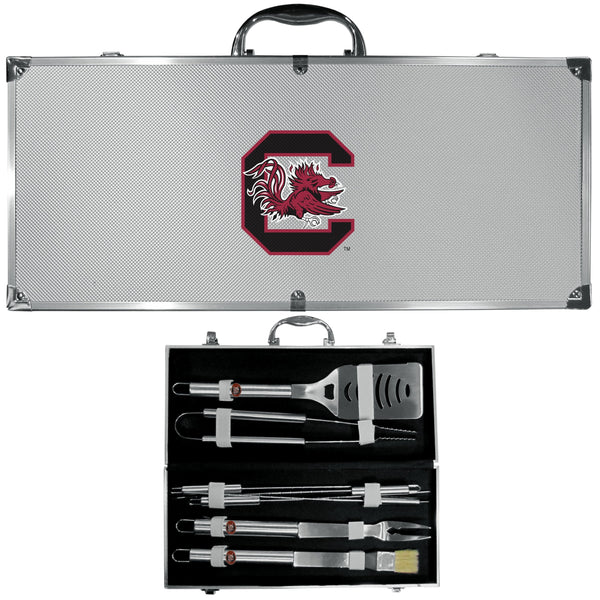 NCAA - S. Carolina Gamecocks 8 pc Stainless Steel BBQ Set w/Metal Case-Tailgating & BBQ Accessories,BBQ Tools,8 pc Steel Tool Set w/Metal Case,College 8 pc Steel Tool Set w/Metal Case-JadeMoghul Inc.