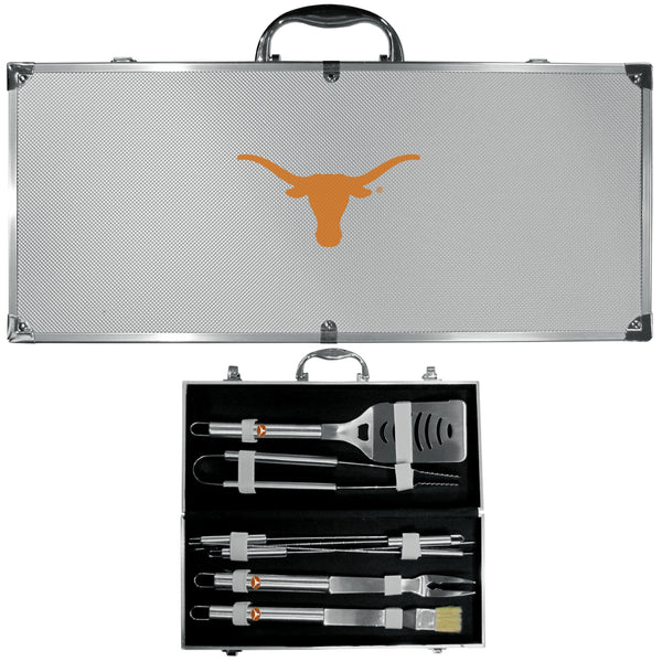 NCAA - Texas Longhorns 8 pc Stainless Steel BBQ Set w/Metal Case-Tailgating & BBQ Accessories,BBQ Tools,8 pc Steel Tool Set w/Metal Case,College 8 pc Steel Tool Set w/Metal Case-JadeMoghul Inc.