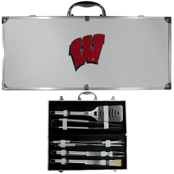 NCAA - Wisconsin Badgers 8 pc Stainless Steel BBQ Set w/Metal Case-Tailgating & BBQ Accessories,BBQ Tools,8 pc Steel Tool Set w/Metal Case,College 8 pc Steel Tool Set w/Metal Case-JadeMoghul Inc.