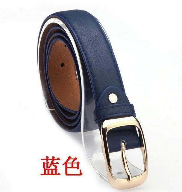 New 2017 Fashion Women Belt Brand Designer Hot Ladies Faux Leather Metal Buckle Straps Girls Fashion Accessories-Blue-JadeMoghul Inc.