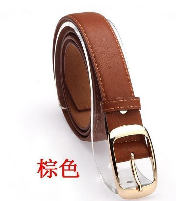 New 2017 Fashion Women Belt Brand Designer Hot Ladies Faux Leather Metal Buckle Straps Girls Fashion Accessories-Brown-JadeMoghul Inc.
