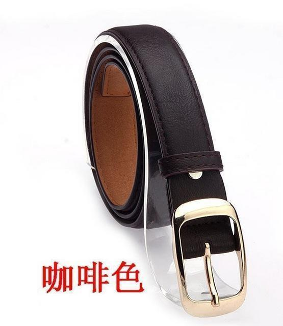 New 2017 Fashion Women Belt Brand Designer Hot Ladies Faux Leather Metal Buckle Straps Girls Fashion Accessories-Coffee-JadeMoghul Inc.